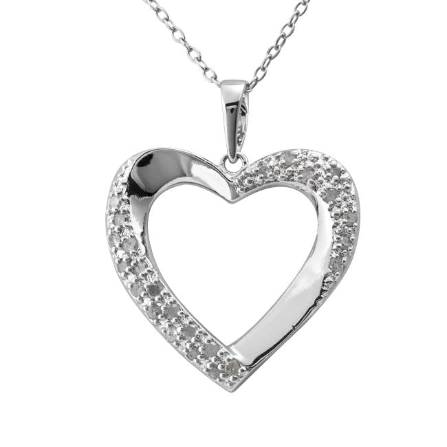 Sterling Silver 1/4ct TDW Diamond Open Heart Necklace (J-K, I3) - Thumbnail 0