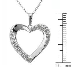 Sterling Silver 1/4ct TDW Diamond Open Heart Necklace (J-K, I3) - Thumbnail 2