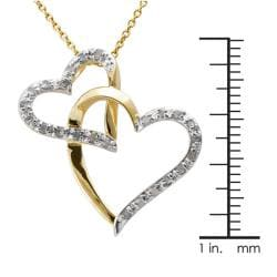 18k Gold over Silver 1/4ct TDW Diamond Double Heart Necklace (J-K, I3) - Thumbnail 2
