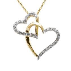 18k Gold over Silver 1/4ct TDW Diamond Double Heart Necklace (J-K, I3) - 8' x 10' - Thumbnail 0