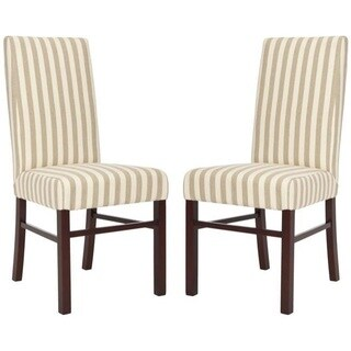 Safavieh Parsons Dining Parsons Stripe Linen Dining Chairs (Pack of 2)