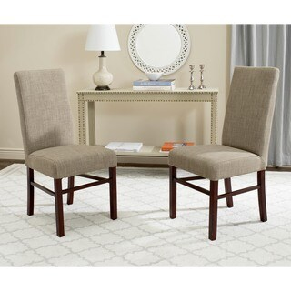 Safavieh Parsons Dining Olive Beige Linen/ Birchwood Dining Chairs (Set of 2) - 8' x 10'