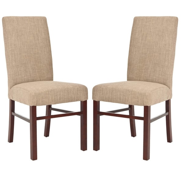 Safavieh Parsons Dining Parsons Olive Beige Linen/Birchwood Side Chairs (Set of 2)