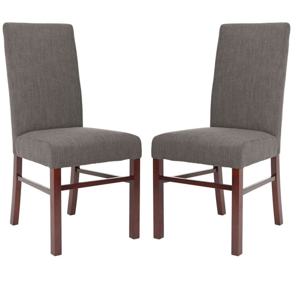 Safavieh Parsons Dining Parsons Charcoal Cotton Side Chairs (Pack of 2)