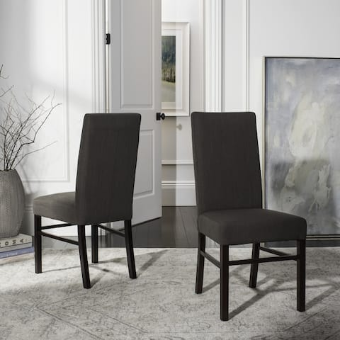 "Safavieh Dining Parsons Charcoal Cotton Dining Chairs (Pack of 2) - 18.5"" x 23.8"" x 39.4"""