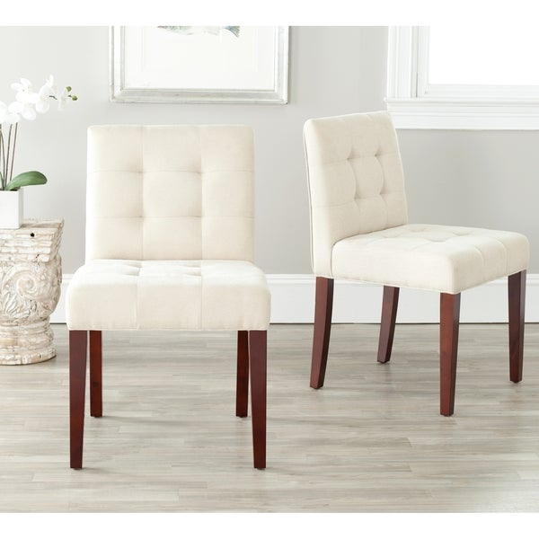 Safavieh En Vogue Dining Chic Cream Tufted Cotton Dining Chairs (Set of 2)