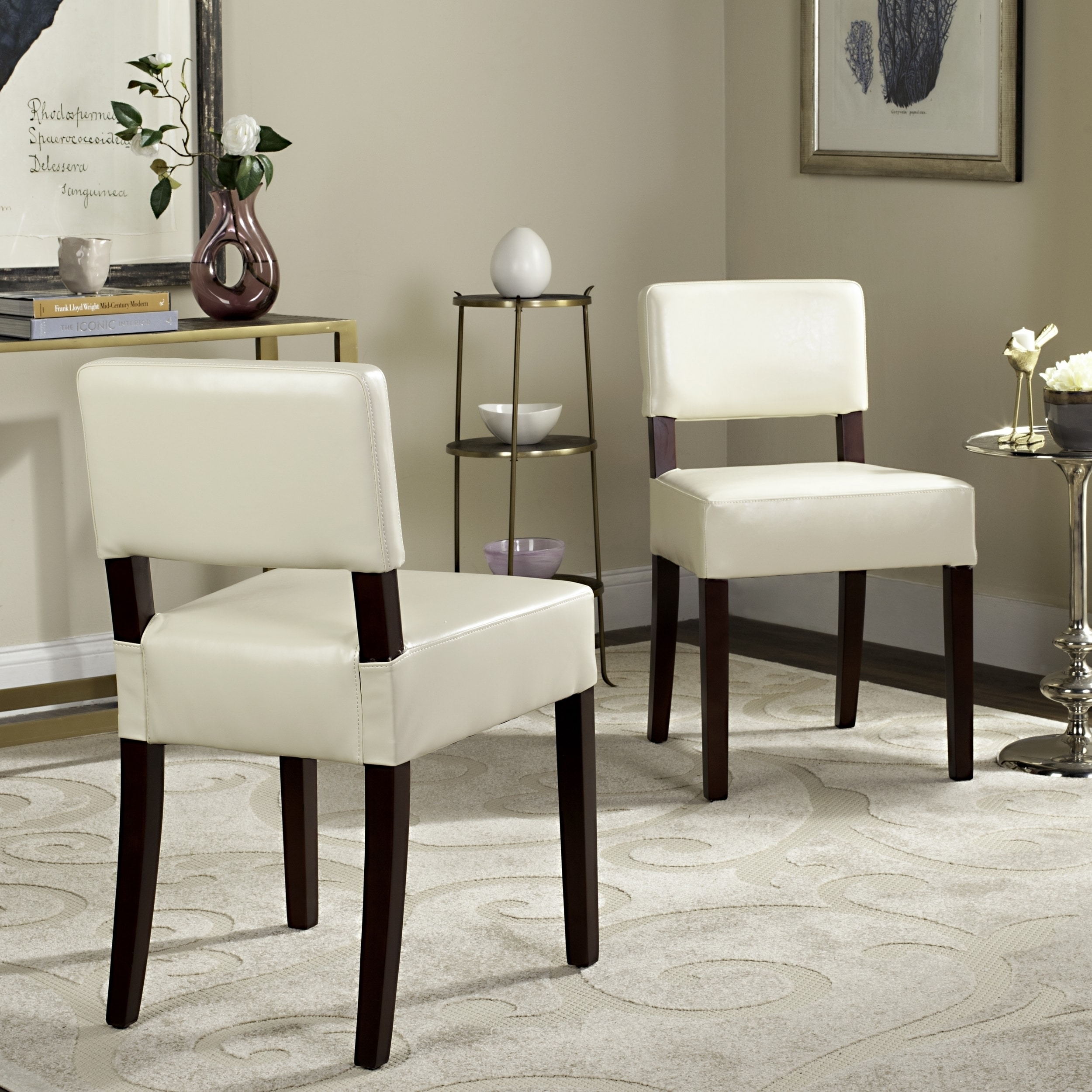 Cosmo Cream Leather Dining Chairs