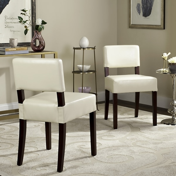 Safavieh Parsons Dining Cosmo Cream Leather Side Chairs (Set of 2)