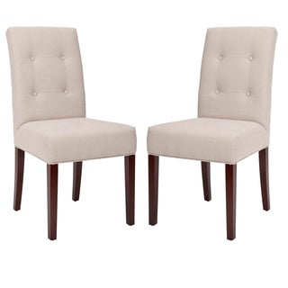 Cambridge Tufted Light Brown Linen Dining Chair Set Of 2
