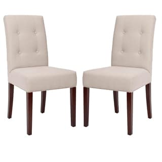 Safavieh Parsons Dining Metro Tufted Beige Linen Dining Chairs (Set of 2)