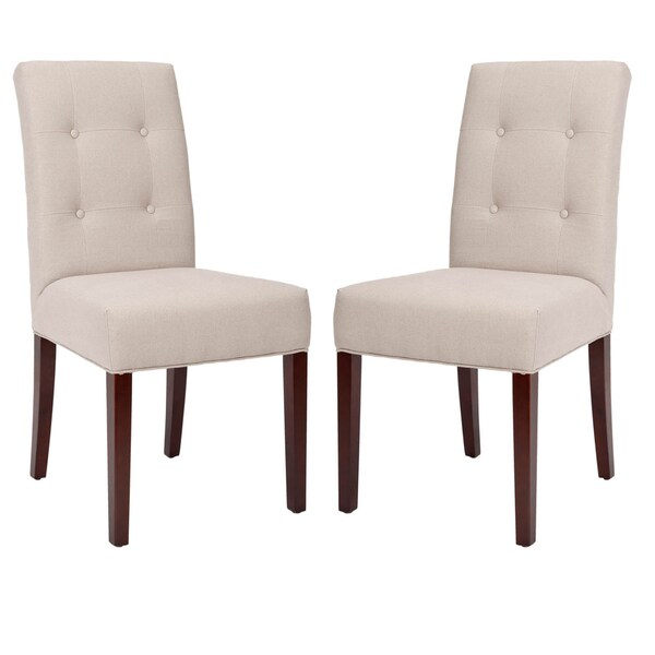 Safavieh Parsons Dining Metro Tufted Beige Linen Side Chairs (Set of 2)