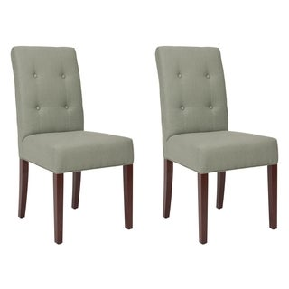 Safavieh Parsons Dining Metro Tufted Grey Linen Dining Chairs (Set of 2)