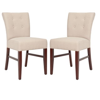 Safavieh Metro Curved Tufted Beige Linen Dining Chairs (Set of 2)