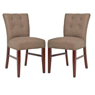 Safavieh Metro Curved Tufted Brown Linen Dining Chairs (Set of 2)