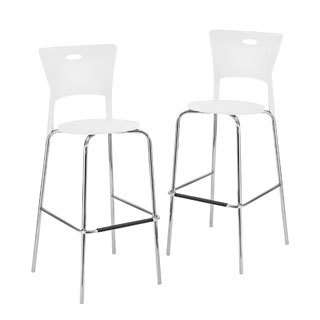 White Stackable Modern Barstools (Pack of 2)