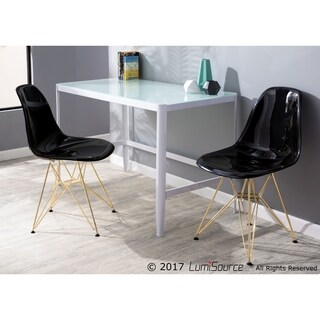 LumiSource Pia Contemporary Desk in White Metal with Glass Top