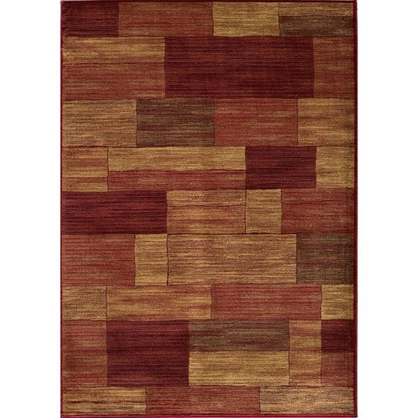 Illusion Power-loomed Bricks Red Rug (2' x 3')