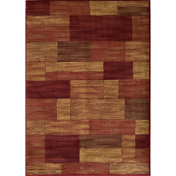 Illusion Power-loomed Bricks Red Rug (3'11 x 5'7)