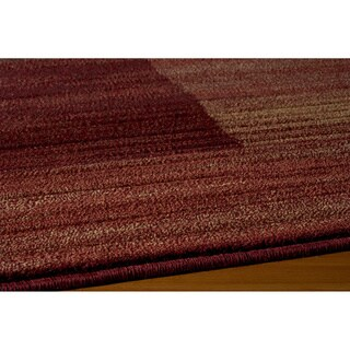 Illusion Power-loomed Bricks Red Rug (5'3 x 7'6)
