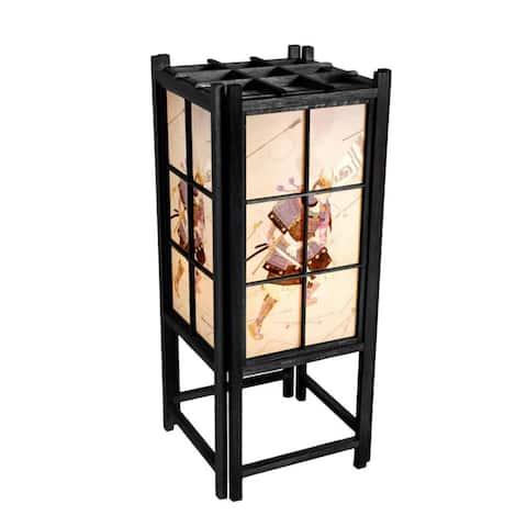 """Handmade 18"""" Wood and Rice Paper Samurai Shoji Lamp"""