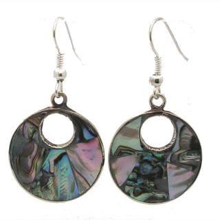 Handmade Alpaca Silver Abalone Drop Earrings (Mexico)