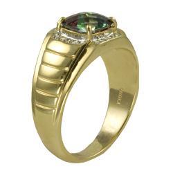 Gems For You 10k Gold Men's Mystic Fire Topaz and Diamond Ring - Thumbnail 1
