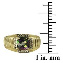 Gems For You 10k Gold Men's Mystic Fire Topaz and Diamond Ring - Thumbnail 2