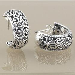 Handmade Sterling Silver Scroll Work Bali Hoop Earrings (Indonesia) - Thumbnail 1