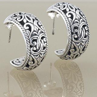 Handmade Sterling Silver Scroll Work Bali Hoop Earrings (Indonesia)