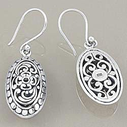 Sterling Silver Bali Oval Scroll Work Dangle Earrings (Indonesia)