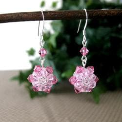 Pink Sunflower Crystal Earrings