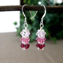 Pink and Clear Bar Crystal Earrings
