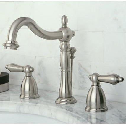 Vintage Satin Nickel Widespread Bathroom Faucet - Free Shipping Today -  Overstock.com - 13457684