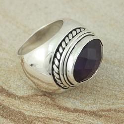 Sterling Silver Faceted Oval Amethyst Rope Edge Ring (Indonesia)
