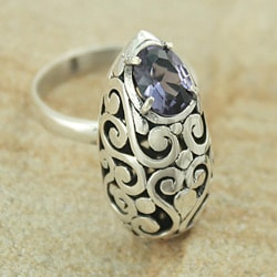 Sterling Silver Oval Cut-out Scroll Faceted Amethyst Ring (Indonesia)