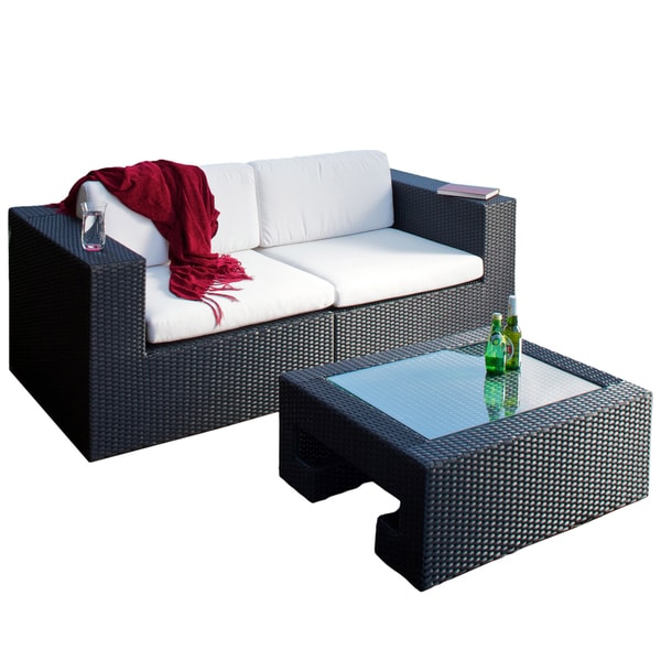 Madrid 3-piece Outdoor Wicker Loveseat and Glass Top Table Set by Christopher Knight Home