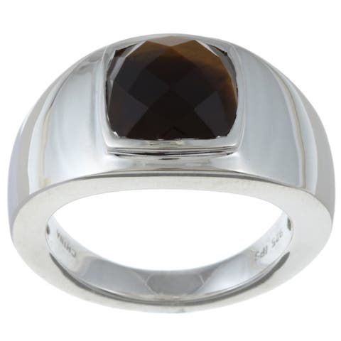 Gems For You Sterling Silver Men's Tiger's Eye Ring