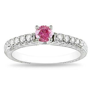 Miadora 14k White Gold 1/2ct TDW Pink-and-white Prong-set Diamond Ring