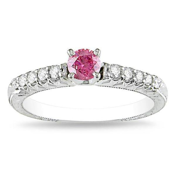 Miadora 14k White Gold 1/2ct TDW Pink-and-white Prong-set Diamond Ring