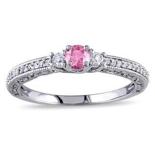 Miadora 14K White Gold 1/2ct Pink-and-white Round Diamond Ring