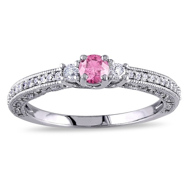 Miadora 14K White Gold 1/2ct Pink-and-white Round Diamond Ring