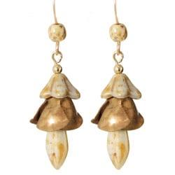 Vintage Brass and 14k Gold Fill 'Aibell's Flower' Earrings
