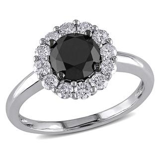 Miadora 14k White Gold 1 1/2ct TDW Black and White Diamond Halo Ring