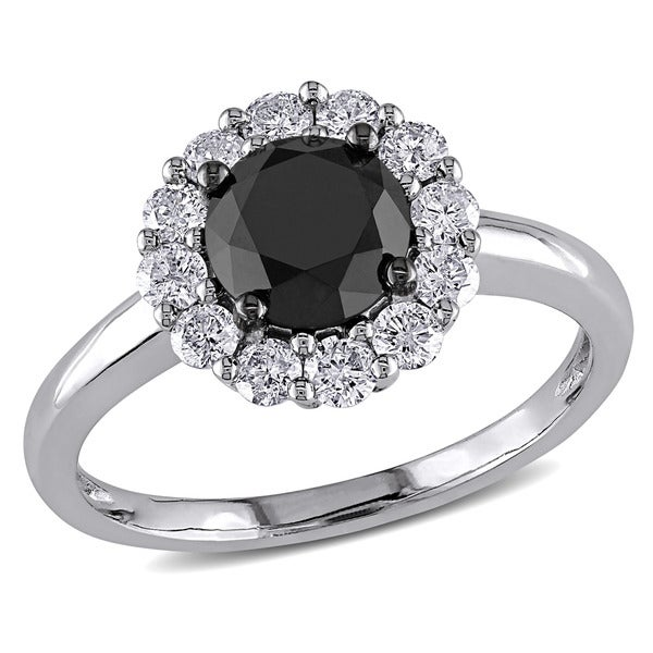 Miadora 14k White Gold 1 1/2ct TDW Black and White Diamond Halo Ring