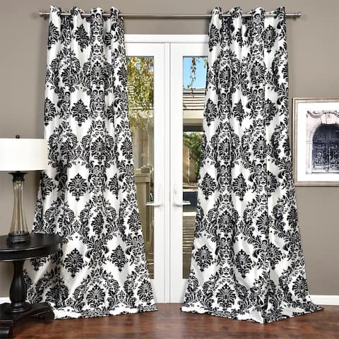 Silver Orchid Lucille Venetian Faux Silk Grommet Top Curtain Panel
