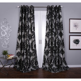 Silver Orchid Lucille Venetian Faux Silk Grommet Top Curtain Panel (Silver/Black - 108 Inches - Single Panel - 54 x 108)