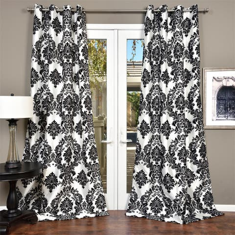 Silver Orchid Lucille Venetian Faux Silk Grommet Top Curtain Panel