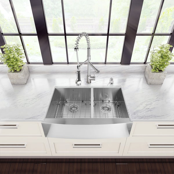 VIGO Farmhouse Stainless-Steel Kitchen Sink, Faucet, and Dispenser Set