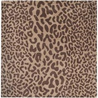 Hand Tufted Brown Leopard Whimsy Animal Print Wool Area Rug 6