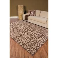 Hand-tufted Brown Leopard Whimsy Animal Print Wool Area Rug (7'6 x 9'6)